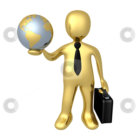 Global Business stock photo, 3d person holding a globe in his hand . by Konstantinos Kokkinis