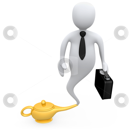 Business Genie stock photo, Genie businessman coming out of a lamp . by Konstantinos Kokkinis