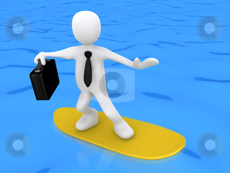 Business Surfing stock photo, 3d businessman on a surf board . by Konstantinos Kokkinis