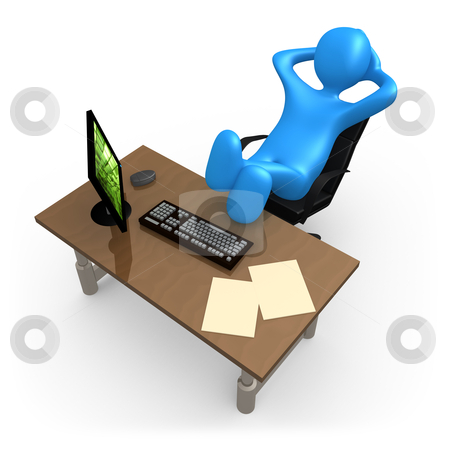 Relaxing In The Office stock photo, 3d person relaxing in the office . by Konstantinos Kokkinis