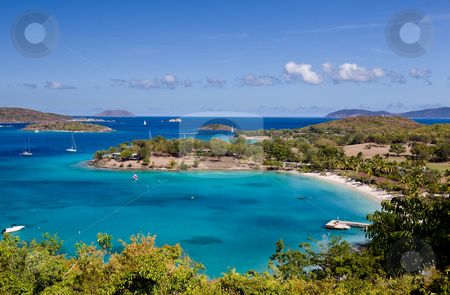 Caneel Bay on St John stock photo, Panorama of Caneel Bay on the Caribbean island of St John in the US Virgin Islands by Steven Heap