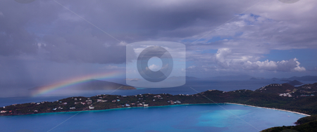 Storm over Magens Bay on St Thomas USVI stock photo, View of Magens Bay - the world famous beach on St Thomas in the US Virgin Islands by Steven Heap