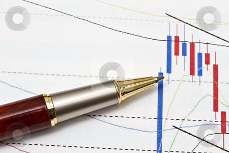Background of business graph stock photo, Background of business graph and a pen  by Ingvar Bjork