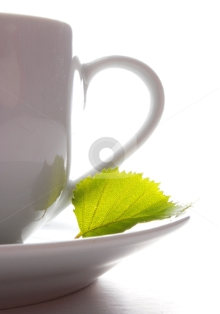 Cup of tea or coffee stock photo, cup of tea or coffee with leaf and white copyspace  by Gunnar Pippel