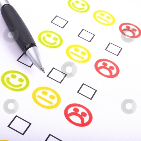 Positive or negative stock photo, hand pen and checkbox or tickbox with smilie by Gunnar Pippel