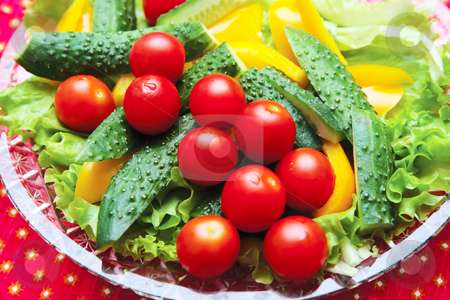 Cucumbers, tomatoes, peppers, lettuce stock photo, Cherry tomatoes with delicious slices of cucumber and peppers laid out on lettuce leaves by Andrey Andronov