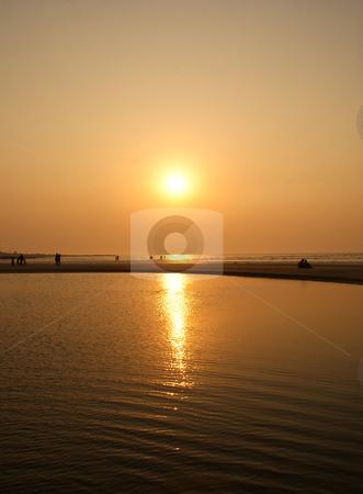 Sun set over the sea stock photo, Beautiful sun set over the beaches of Mumbai by subhra2jyoti