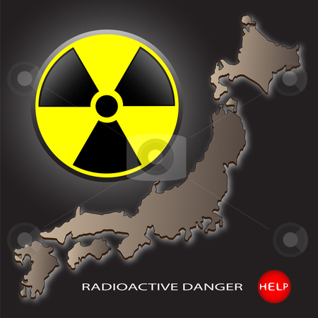 Radioactive danger stock photo, Map of Japan and a sign on radioactive danger on a dark background by Alina Starchenko