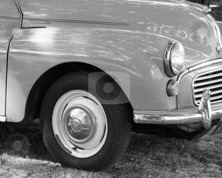 Classic car 2 stock photo, a black and white image of a british classic car  by lizapixels