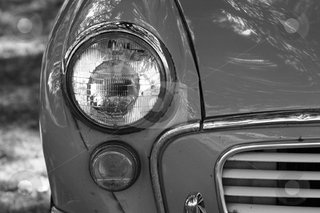 Classic car 3 stock photo, a black and white image of a british classic car  by lizapixels