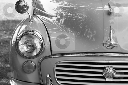Classic car 9 stock photo, a black and white image of a great briitsh classic car  by lizapixels