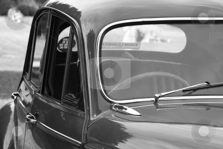 Classic car 6 stock photo, a black and white image of a great briitsh classic car  by lizapixels