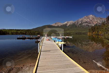 Pyramid Lake in Jasper National Park stock photo, Pyramid Lake in Jasper National Park by Mark Duffy
