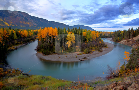 Autumn colors along Tanzilla River in Northern British Columbia stock photo, Autumn colors along Tanzilla River in Northern British Columbia by Mark Duffy