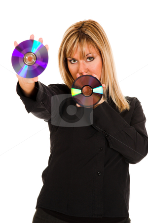 Woman holding compact disc stock photo, beautiful young woman holding compact disc by vladacanon1