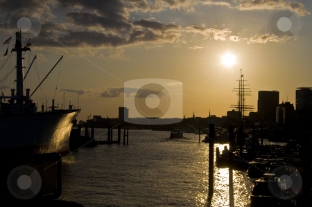 Industrial sunset stock photo, old beautiful harbor of Hamburg at sunset by Juliane Jacobs