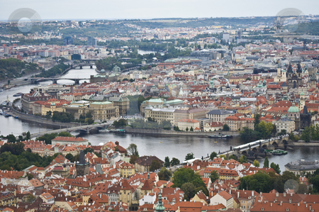 Prague stock photo, aerial view of the old town of Prague with the Charles bridge by Juliane Jacobs