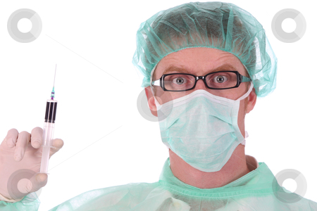 Surgeon with injection  stock photo, details surgeon with injection on white background by vladacanon1