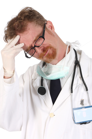 Doctor having headache  stock photo, doctor having headache on white background by vladacanon1