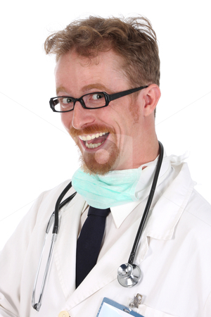 Portrait of smiling doctor stock photo, Portrait of smiling doctor on white background by vladacanon1