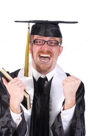 Happy graduation a young man stock photo, happy graduation a young man on white background by vladacanon1