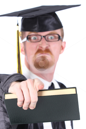 Angry graduation a young man  stock photo, angry graduation a young man on white background by vladacanon1