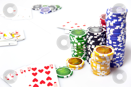 Game of poker stock photo, playing poker and fisches on white background by @ Photofollies by Carla Zagni
