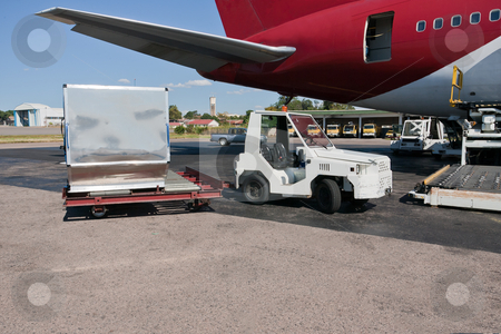 Loading cargo plane stock photo, Loading platform of air freight to the aircraft by Pierre-Yves Babelon