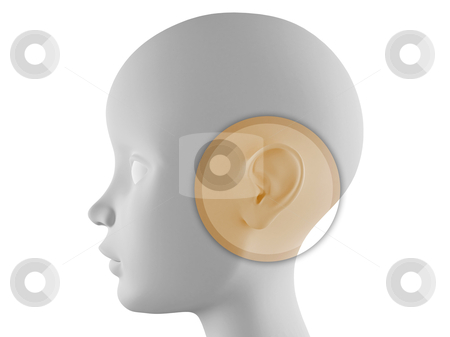 Ear examination stock photo, Neutral head profile with ear in evidence by Giordano Aita