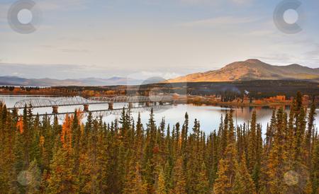Teslin Lake bridge on Alaska Highway stock photo, Teslin Lake bridge on Alaska Highway by Mark Duffy