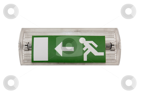 Emergency Exit Sign stock photo, An emergency exit signal with white background ( no clipping path, but easily selectable ) by Paulo M.F. Pires