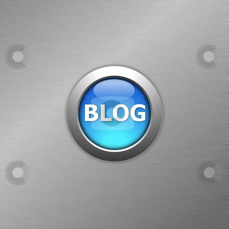 Blue blog button stock photo, blue blog internet computre button on metal  by Gunnar Pippel