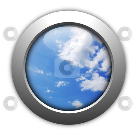 Blue sky stock photo, bly sky internet web button showing peace and freedom by Gunnar Pippel