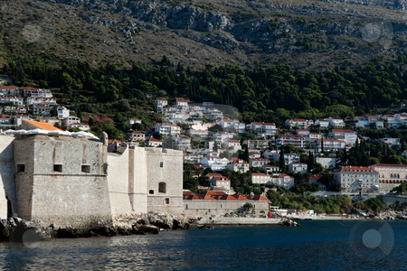 Fort of Dubrovnik stock photo, The old city and its fort of Dubrovnik, Croatia  by Kevin Tietz