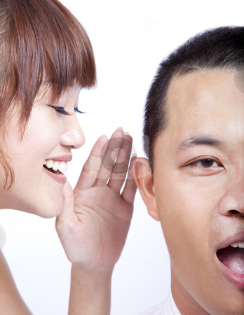The gossip between man and woman stock photo, The gossip between man and woman by tomwang