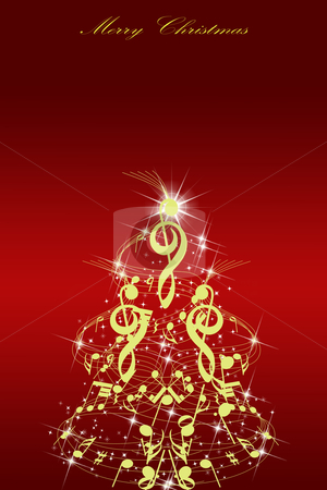 Abstract Christmas card stock photo, Abstract Christmas card. Golden Christmas tree on red background by Ingvar Bjork