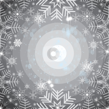 Abstract snowflakes background stock photo, Abstract snowflakes background on black by Ingvar Bjork