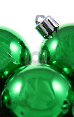 Green Glossy Xmas Balls stock photo, A bunch of green Christmas baubles against a white background.  by Chris Hill