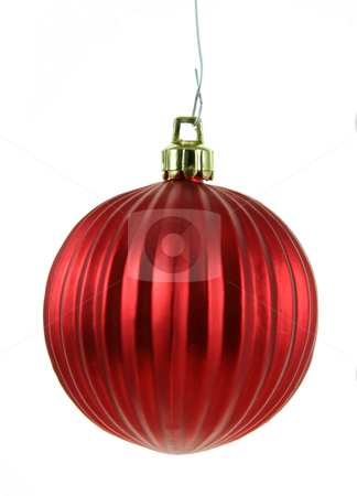 Red Decorative Bauble stock photo, A single isolated red Christmas bauble hanging.  by Chris Hill