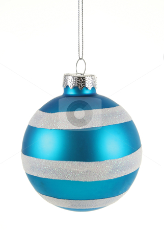 Blue Striped Bauble stock photo, A single isolated blue striped Christmas bauble hanging.  by Chris Hill