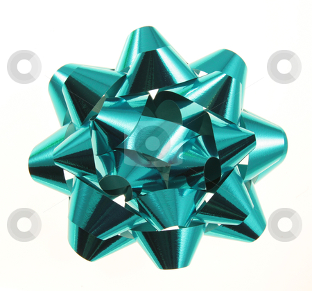 Turquoise Christmas Gift Bow stock photo, An isolated turquoise Christmas gift bow.  by Chris Hill
