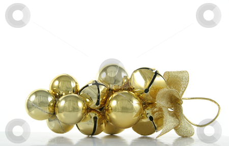 Golden Bells Xmas Ornament stock photo, A golden bells Christmas ornament isolated on white. by Chris Hill
