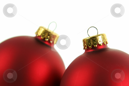 Closeup of a Pair of Red Baubles stock photo, A closeup of a pair of red Christmas baubles closeup. by Chris Hill