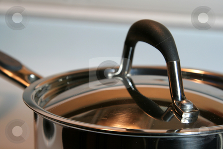 Stainless Steel Lid stock photo, A closeup of a stainless steel pot lid.  by Chris Hill