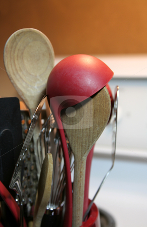 Spoons and Other Cooking Tools stock photo, A closeup of cooking spoons and other tools. by Chris Hill