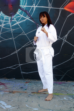 Beautiful Martial Arts Girl and Graffiti (1) stock photo, A beautiful young girl wearing a traditional martial arts uniform stands ready in front of a graffiti spider on his web. by Carl Stewart