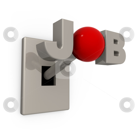 """Job Switch stock photo, 3D Switch with the word """"job"""" spelled on it's knob. by Konstantinos Kokkinis"""