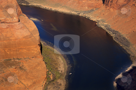 Small Fishing Boat Horseshoe Bend Glen Canyon Overlook Arizona stock photo, Horseshoe Bend Orange Glen Canyon Overlook Small Boat Blue Colorado River Entrenched Meander Page Arizona by William Perry