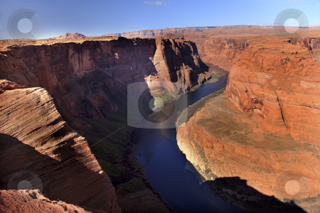 Left Side Horseshoe Bend Glen Canyon Overlook Arizona stock photo, Horseshoe Bend Orange Glen Canyon Overlook Blue Colorado River Entrenched Meander Page Arizona by William Perry