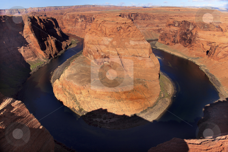Horseshoe Bend Glen Canyon Overlook Colorado River Page Arizona stock photo, Horseshoe Bend Orange Glen Canyon Overlook Small Boat Blue Colorado River Entrenched Meander Page Arizona by William Perry